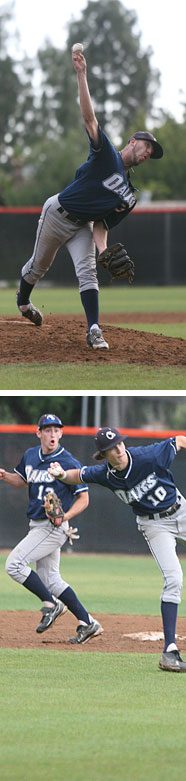 ABOVE: Adam Koontz in action.  BELOW: Shortstop Chris Mazza makes a bare-handed pickup.  PHOTOS: OCCIDENTAL ATHLETIC DEPARTMENT