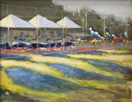 ... includes more than 30 oil and acrylic paintings of the Menlo campus, ...