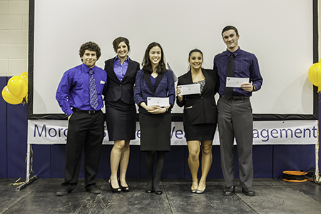 QuickConnect, winners of the Mini-Business Plan Competition: Miles Christophe, Taylor Castle, Casey Quan, Katie Cone, and Ricky VanDyke.