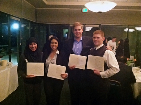 Four Menlo College students receive scholarship awards from CalCPA.