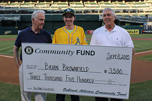 Menlo College Brian Brownfield Receives Oakland A's Bill King Memorial Scholarship