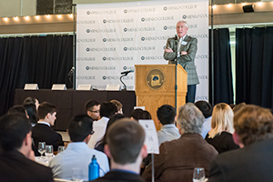 """Two-Star Admiral Kenneth AKA""""Viper"""" Pettigrew asked Menlo College Students, """"Do You Have the Right Stuff?"""""""
