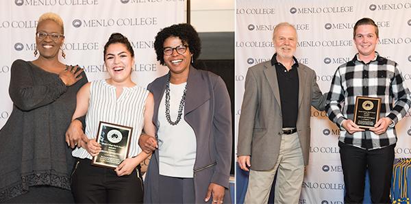 Regina Hernandez '17 and Brian Brownfield '17 win Menlo College Spirit Award
