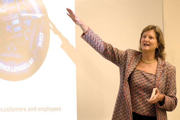 Stellar Solutions Founder and CEO Celeste Ford offers Menlo College students a Countdown on Management