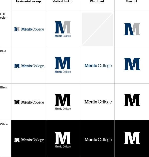 Menlo College logo color variations