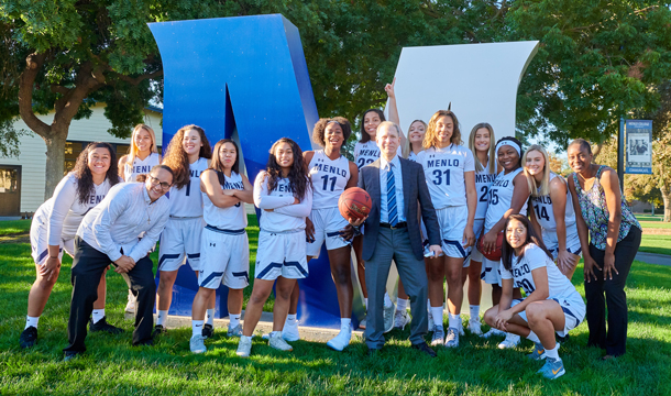 Steven Weiner with the Women's Basketball team